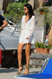 Selena Gomez Hot in Mini Dress - Leaving Hotel Della Regina Isabella in Ischia