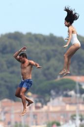 Selena Gomez in a Swimsuit on a Yacht in Saint-Tropez - July 2014