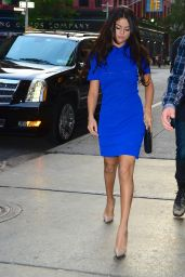 Selena Gomez in Blue Mini Dress - Out for Dinner in New York City - July 2014