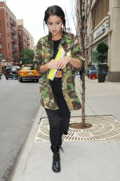 Selena Gomez in Military Jacket - Leaving a Meeting in NYC - July 2014