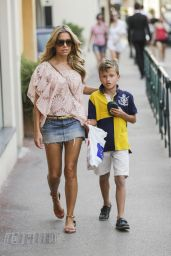 Sylvie van der Vaart in Jeans Mini Skirt in St.Tropez - July 2014