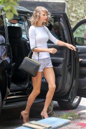 Taylor Swift in Jeans Shorts - Leaving Her Apartment in New York City - July 2014