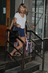 Taylor Swift Leggy in Shorts - Leaving Her Apartment in NYC - July 2014