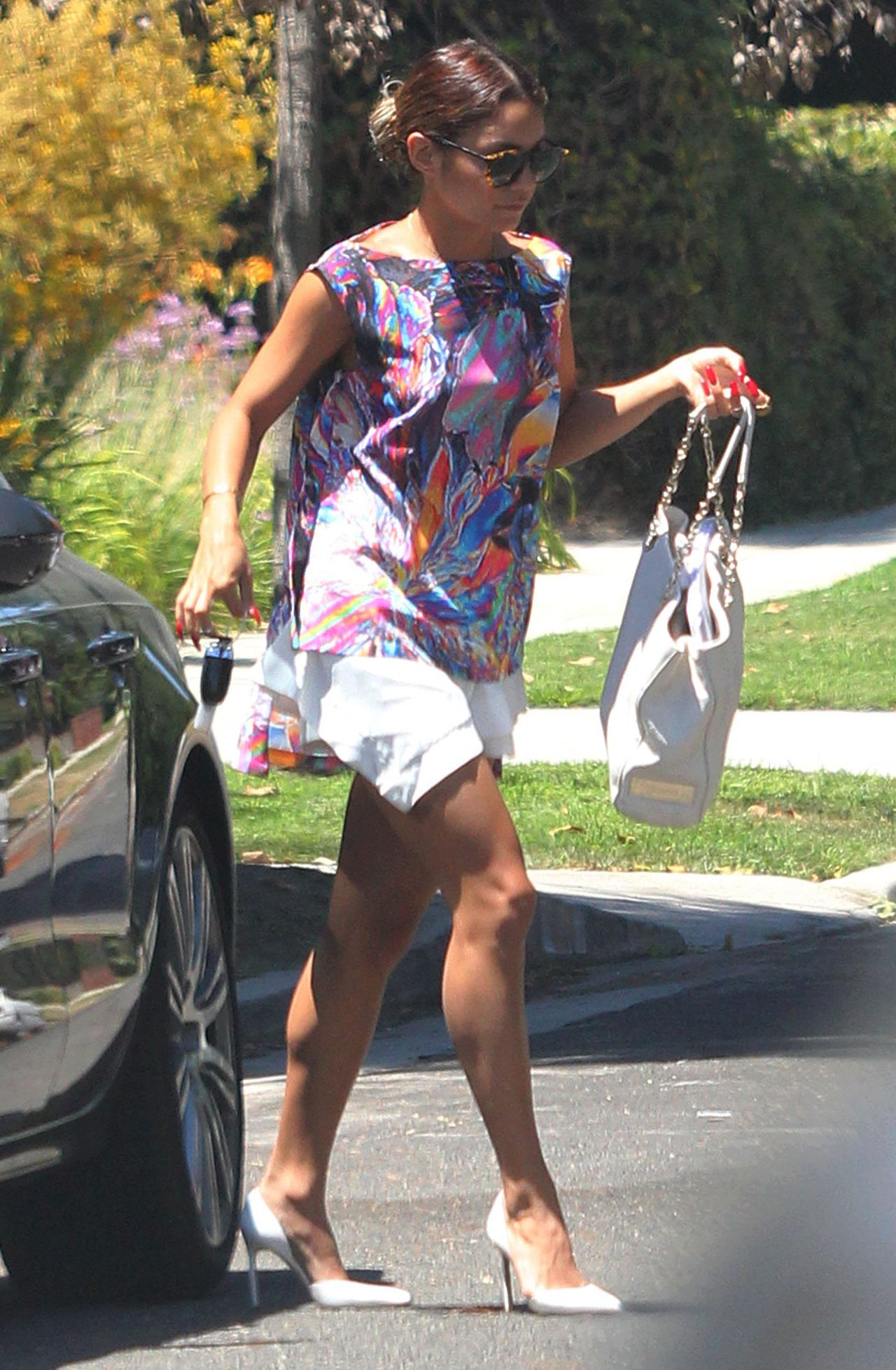 vanessa hudgens casual style heads to a friends house