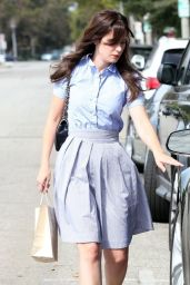 Zooey Deschanel - Leaving a Hair Salon in Beverly Hills - July 2014