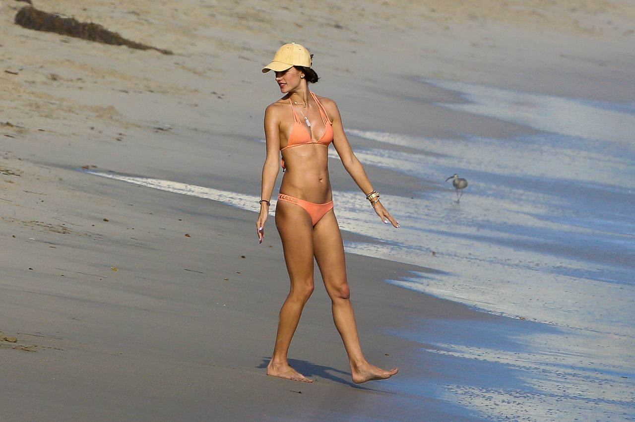 Alessandra Ambrosio Bikini Candids - Fun Day at the Beach - August 2014