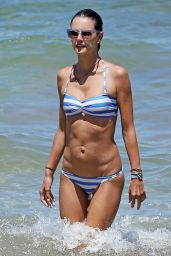Alessandra Ambrosio in a Striped Bikini - Beach in Maui - August 2014