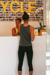 Alessandra Ambrosio in Leggings at SoulCycle in Brentwood - August 2014