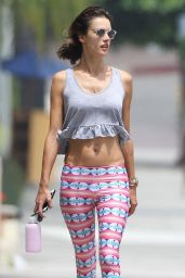 Alessandra Ambrosio in Tight Leggings and Belly Shirt - Out in Brentwood, August 2014