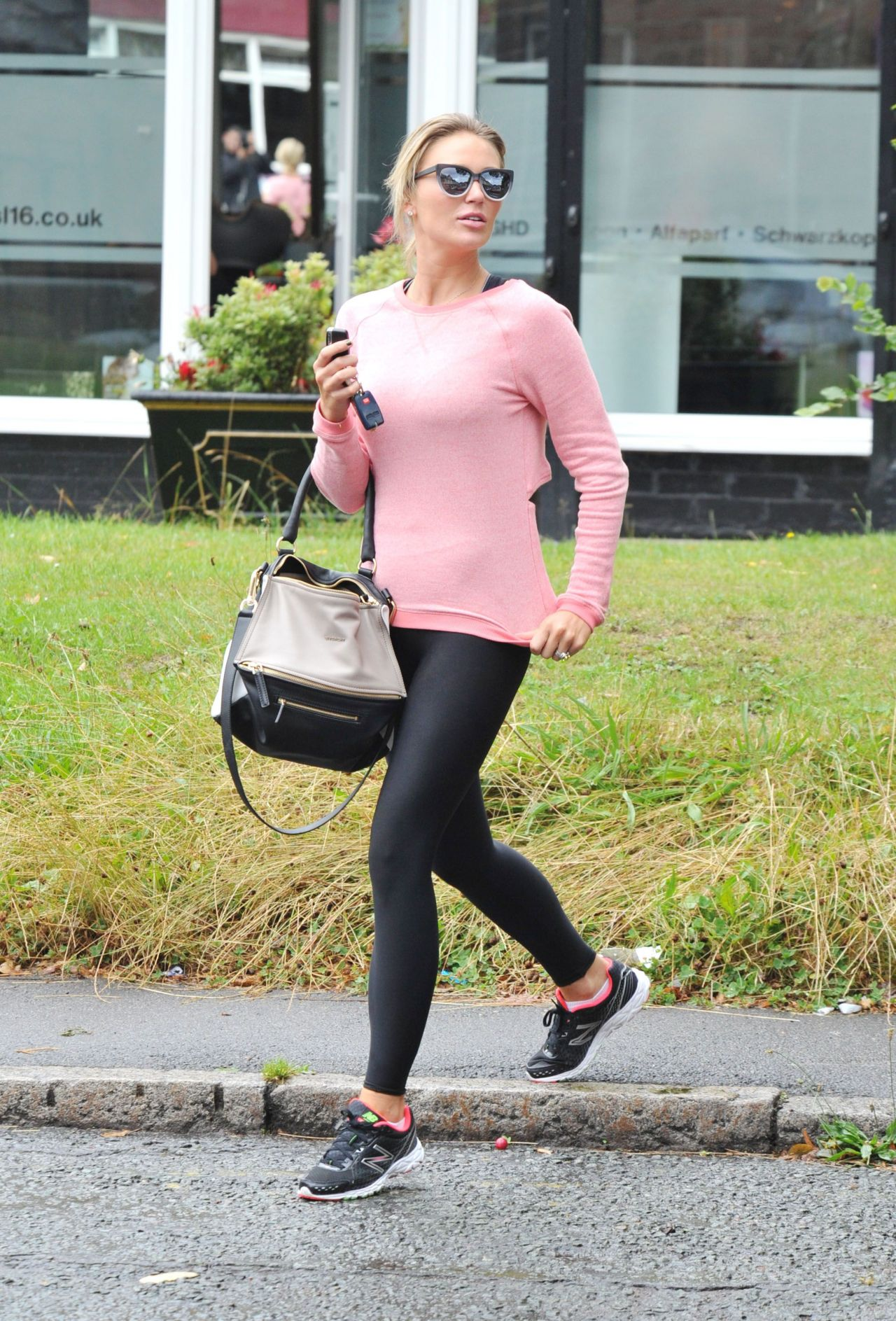 Alex Gerrard in Tights Leaving the Gym in London - August 2014