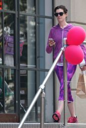 Anne Hathaway in Bright Purple Workout Gear - Out in NYC, August 2014