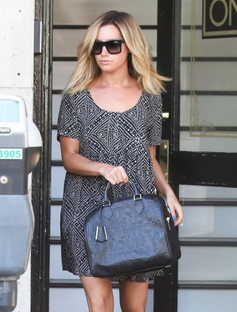 Ashley Tisdale in Mini Dress - Running Errands in Los Angeles, Aug. 2014