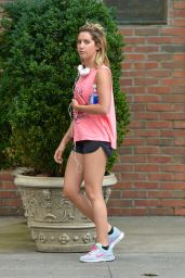 Ashley Tisdale Jogging Style - Out in East Village in NYC - July 2014
