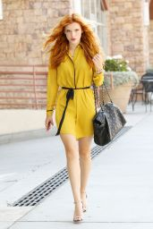 Bella Thorne in Yellow Short Dress - Out in LA, August 2014