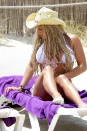 Bianca Gascoigne in White Bikini On The Beach in Spain - August 2014