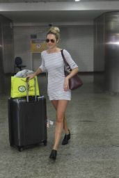 Candice Swanepoel in Mini Dress - Arriving in Sao Paulo - August 2014