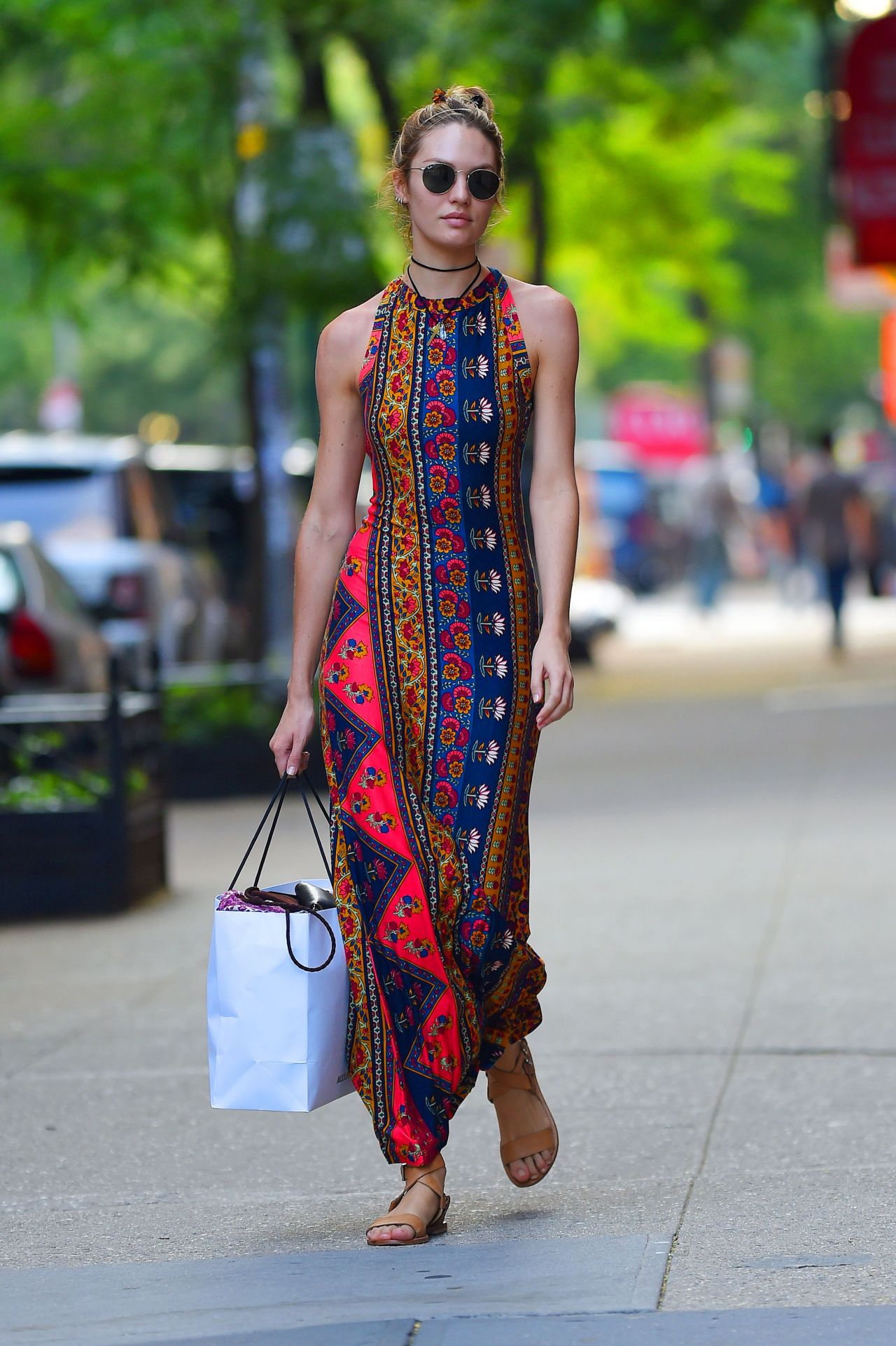 Candice Swanepoel in Stylish Summer Long Dress- Out in NYC - July 2014