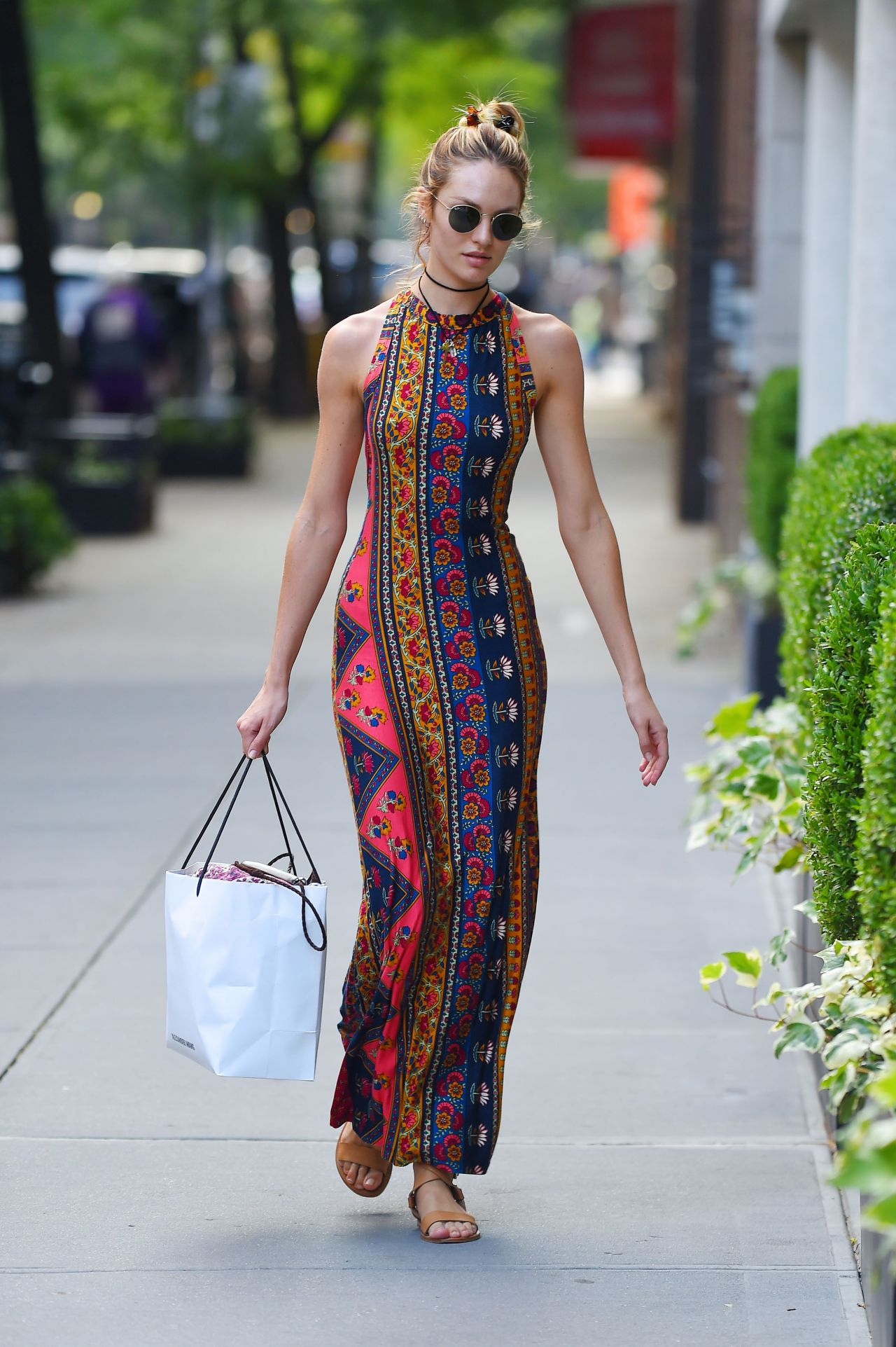 Candice Swanepoel In Stylish Summer Long Dress Out In Nyc