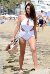 Charlotte Dawson in White Swimsuit - Ibiza, July 2014