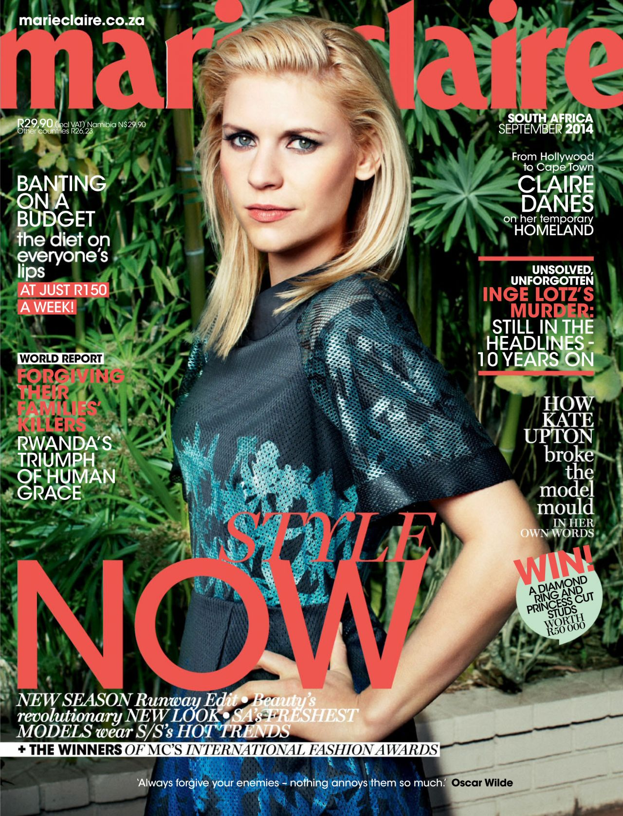 claire danes marie claire magazine south africa september 2014 issue. Black Bedroom Furniture Sets. Home Design Ideas