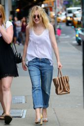 Dakota Fanning Street Style - Out in New York City - August 2014