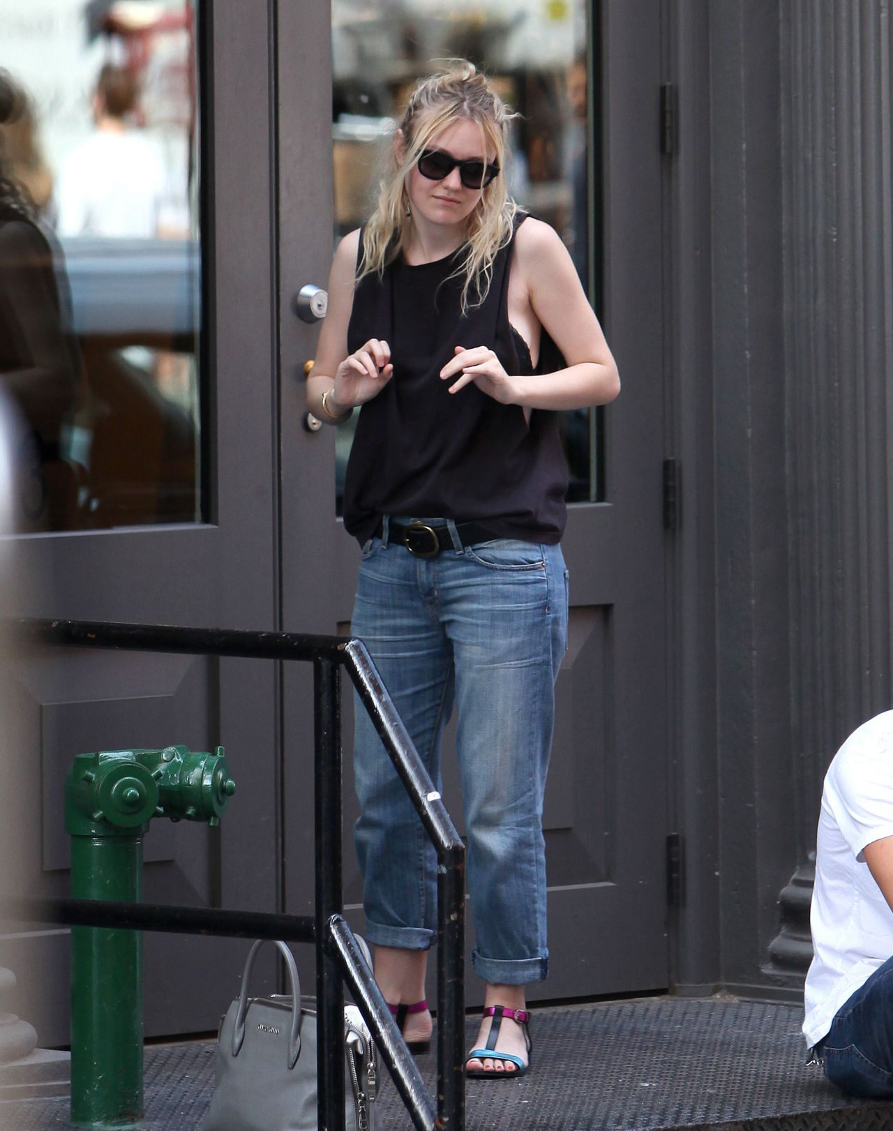 Dakota Fanning Street Style - Out in NYC - August 2014