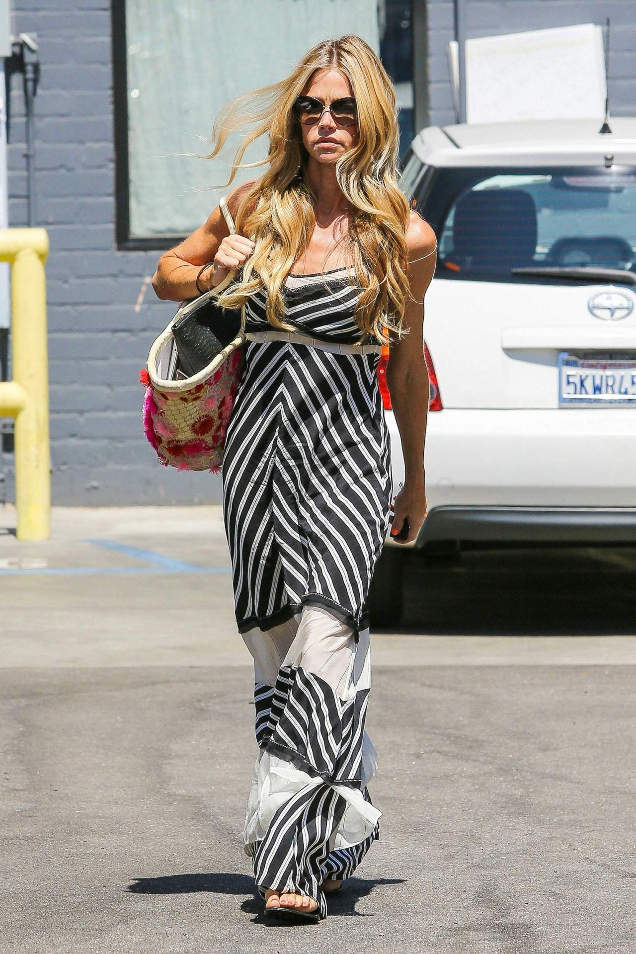 Denise Richards in Summer Long Dress - Leaving Cristophe Salon in Beverly Hills - August 2014