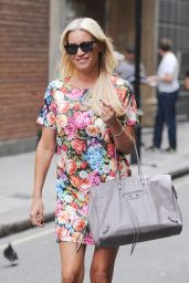 Denise van Outen in Mini Dress - Leaves MagicFM Studios in London - August 2014