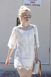 Elle Fanning in Boots - Out in Los Angeles - August 2014