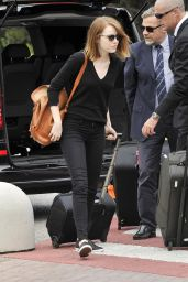 Emma Stone at the Venice Marco Polo Airport in Italy - August 2014