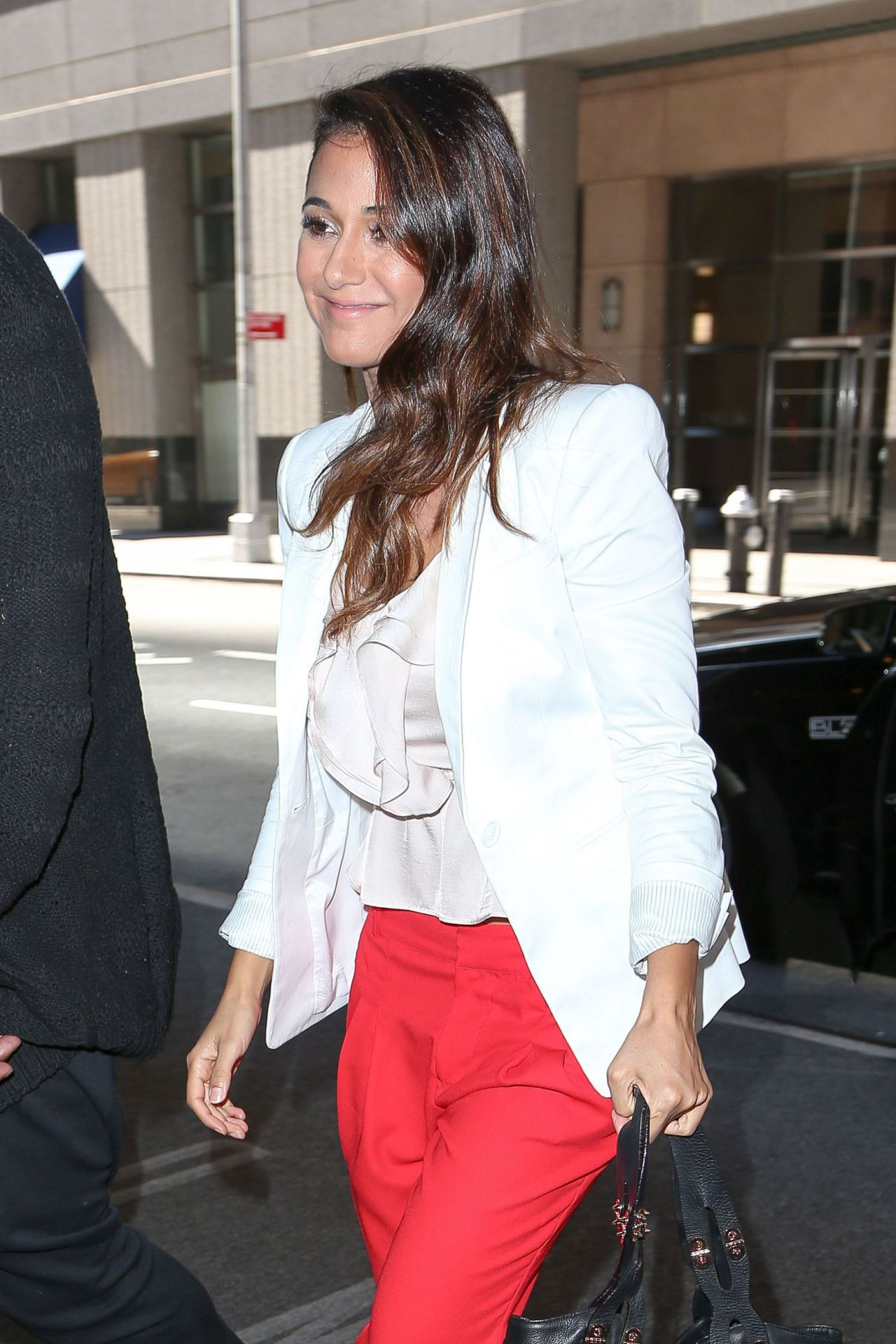Emmanuelle Chriqui Style - Arriving at Her Hotel in New York City - August 2014