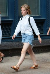 Jane Levy in Jeans Shorts - Out in New York City - August 2014