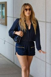 Jennifer Lopez Flashes Her Legs - Out in Century City, August 2014