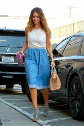 Jessica Alba Casual Style - Arriving at Her Office in Santa Monica - August 2014