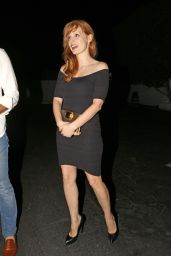 Jessica Chastain in a Black Dress at a Restaurant in Santa Monica - August 2014