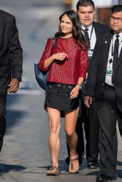 Jordana Brewster Leggy in Mini Dress, Heads to Jimmy Kimmel Live! in Hollywood - August 2014