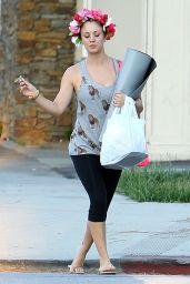Kaley Cuoco in Leggings - Leaving Yoga Class in LA - August 2014