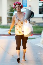 Kaley Cuoco in Leggings - Leaving Yoga Class in LA - August 2014