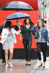Katie Holmes in Leather Pants - Out on a Rainy Day in New York City - August 2014