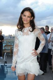 Katie Holmes Leggy in Mini Dress - at the World Surf League Cocktail Party in NYC, July 2014