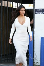 Kim Kardashian in Backless White Dress - Hollywood, August 2014