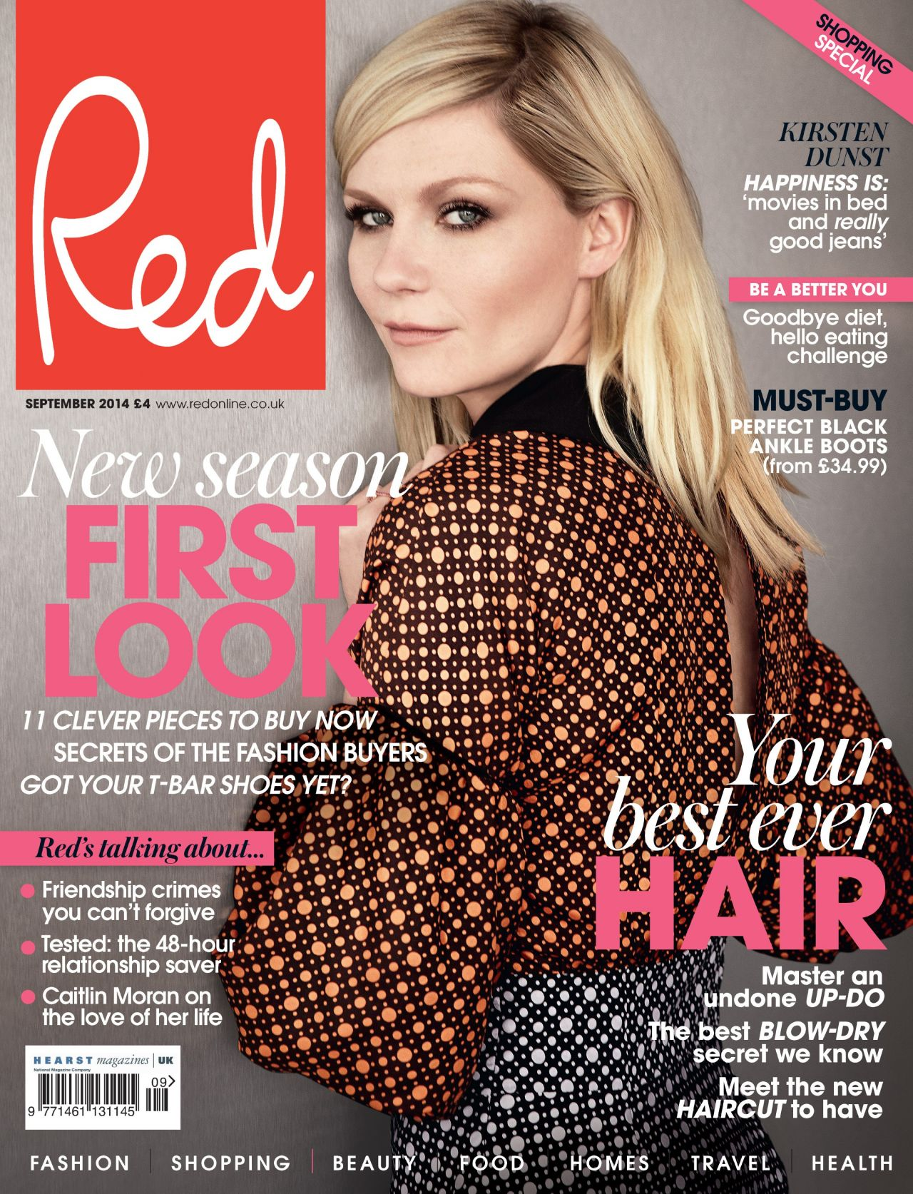 Kirsten Dunst - Red Magazine (UK) - September 2014 Cover