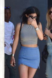 Kylie Jenner in Mini Jeans Skirt - Out in West Hollywood - August 2014