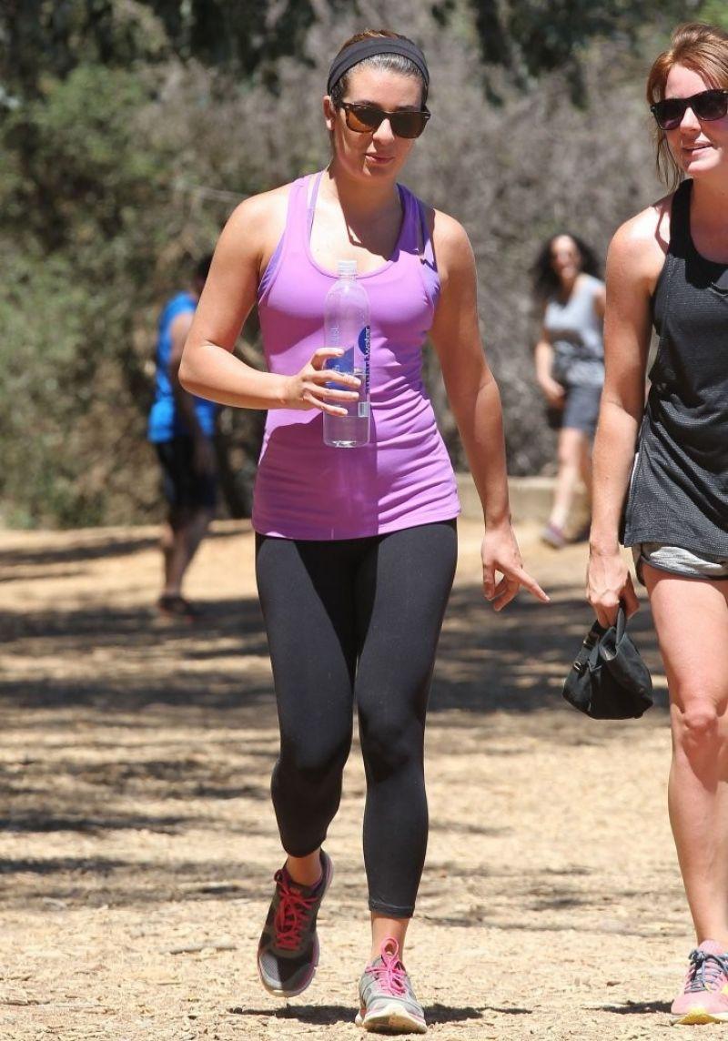 0dcc82a49b Lea Michele in Leggings - Hiking in Los Angeles - August 2014