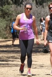 Lea Michele in Leggings - Hiking in Los Angeles - August 2014