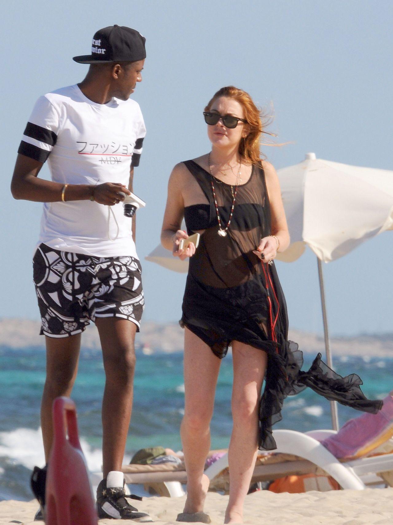 Lindsay Lohan on a Beach in Ibizza - July 2014
