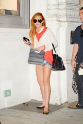 Lindsay Lohan Shows Off Her Legs - Out in NYC - August 2014