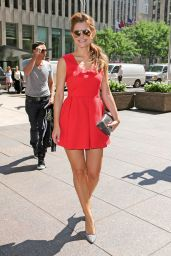 Maria Menounos Hot in Red Dress - SiriusXM in New York City, August 2014