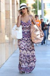 Nicole Scherzinger in Summer Long Dress- Shopping in LA - August 2014