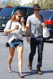 Nikki Reed in Jeans Shorts - Shopping at a Farmers Market in Studio City - August 2014